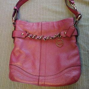 Coach Magenta Woven Chain Crossbody Bag